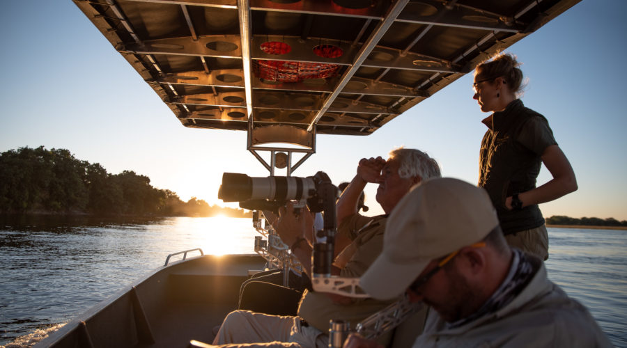 Photography from a special shooting boat along the Chobe River in Botswana
